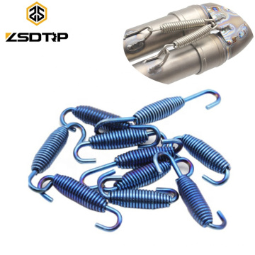 Silver Blue Stainless Steel Motorcycle Exhaust Mounting Extension Pull Spring Rotatable with Welding Fastener Kit For CBR GSXR