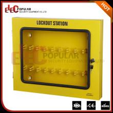 Elecpopular Manufacturer Customized Steel Plate Yelllow Lockout Boxes com janela visível