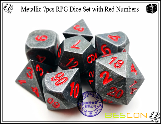 Metallic 7pcs RPG Dice Set with Red Numbers-5