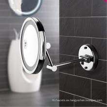 Espejo cosmético ultrafino para baño montado en la pared de un solo lado con LED encendido para hotel