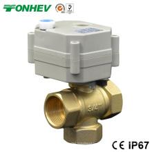 Válvula de esfera de latão de controle elétrico de 3 vias Válvula de controle de fluxo de 3 vias com punho manual (DN15 DN20)