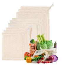 Eco-friendly reusable organic small net bag pure natural cotton mesh bags