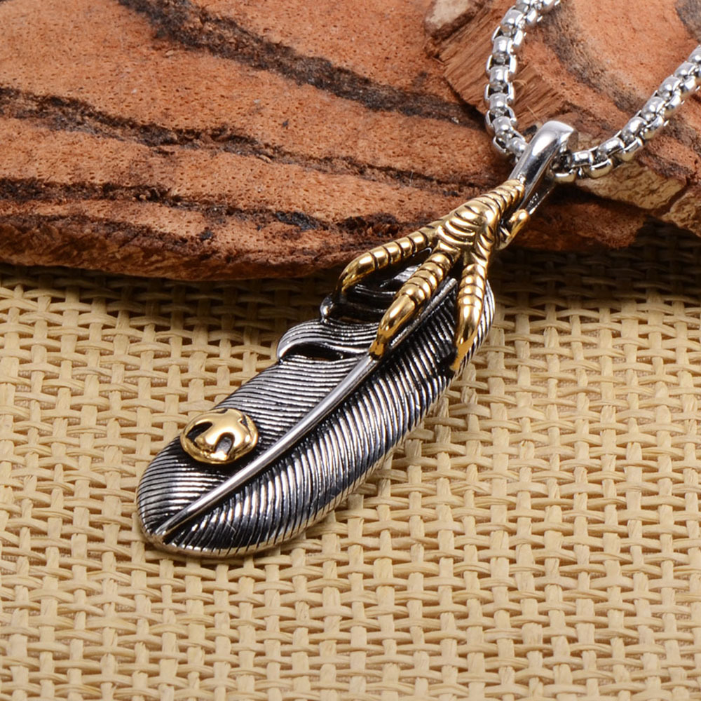 Animal Design Eagle Claw Feather Pendant Necklace