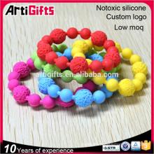 Various colors bead bracelets designs silicon soft bead bracelets bangles