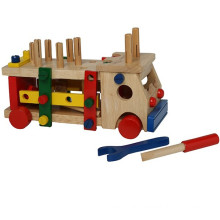 wooden assembling truck toys with tools