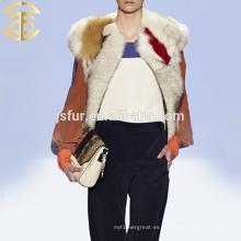 2015 venta al por mayor chaleco de pieles de mapache de fantasía chaleco de pieles de animales coloridos o chaleco de pieles de mujeres de China chaleco de pieles genuino