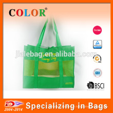 2017 new design recycle mesh screen printing non woven carry tote bag
