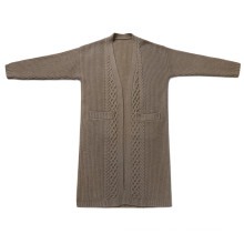 P18B14TR 100% cashmere knitted lady cardigan sweater