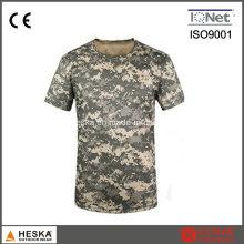 Camisa de camuflagem Mens T de algodão de cor militar do exército