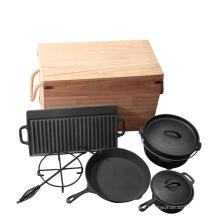 Cast Iron Camping Cookware Set 7PCS Cookware Set