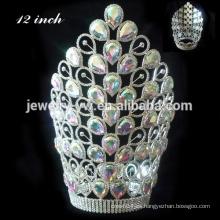 Corona de cristal rosa de la corona de la corona de la corona grande de la tiara