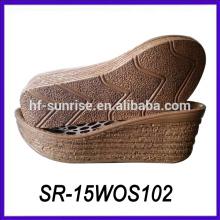 Madera de los estilos señora gruesa sola zapatos ocasionales cuña sola planta del pie zapatilla