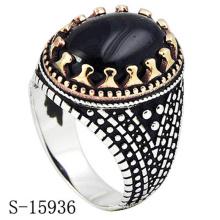Anillo de joyería de plata de ley 925 Hotsale Design con ágata negra