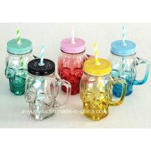 Черепная форма стеклянная банка Мошон для чашки или кружки с крышкой