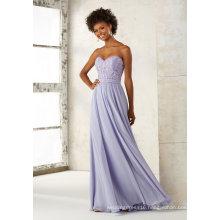 Strapless Chiffon Beading Embroidery Blue Evening Pary Bridesmaid Dress Qh66054