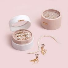 Mini boîte de rangement de cadeau de bijoux portative ronde