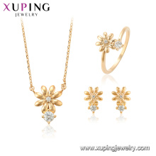64699 xuping fashion flower shape earring stud charms jewellery set