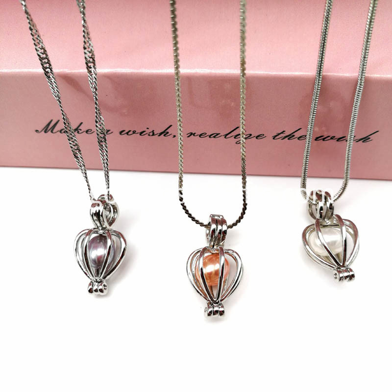 Silver Heart Cage Pendant Necklace