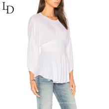Camiseta de mujer blanca lisa de manga larga de cintura alta elástica personalizada