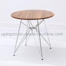 Ресторан стол с хромированной стали и деревянной столешницей (СП-RT570)