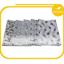 Silver Printed Cotton Fabric White Bazin Riche Check Pattern African Fabrics