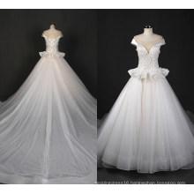 Elegant Satin Neckline Ballgown Sequin Bridal Wedding Dress Zt7163