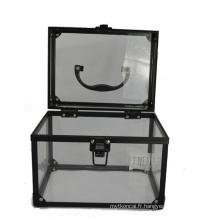 Les cas cosmétiques acryliques basiques noirs (hx-q056)