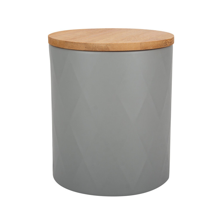 Cylinder grey coffee sugar tea canister