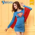 Traje atractivo vendedor caliente del traje de Víspera de Todos los Santos del superhombre del vestido de lujo 2016