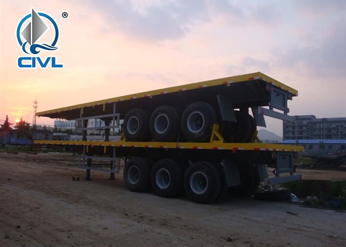 3 Axle Container Flatbed Semi Trailer 4