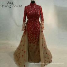 2016 Red Flower Appliques Hochzeitskleid New Style Bridemaid Kleid Abnehmbare Zug Elegantes Kleid