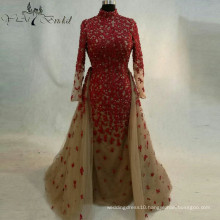2016 Red Flower Appliques Wedding Dress New Style Bridemaid Dress Removable Train Elegant Dress