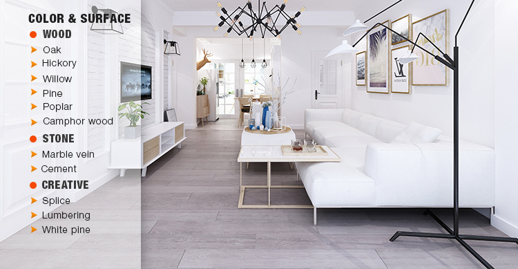 Luxury vinyl tile click flooring effect