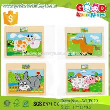 china wholesale 12pcs animal wooden jigsaw puzzle toys