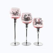 Suporte de vela de vidro de flor de ameixa