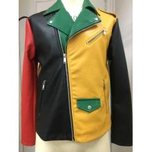Jaqueta masculina de pele falsa multicolorida
