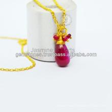 Designer Vermeil Gemstone Beaded Necklace For Women In Wholesale Price