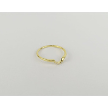 Classic simple curved design timeless 925 sterling silver gold-plated engagement ring with diamond and zircon