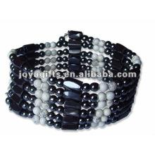 "Magnetic Howlite Beaded Wrap Bracelets & Collier 36 """