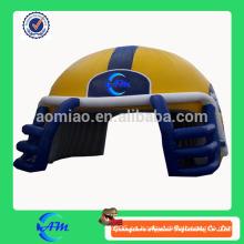 Gigante inflable rubí casco para la venta fútbol casco inflable casco túnel para fútbol juego
