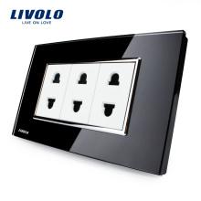 Livolo Стандарт США Varous Color Закаленное стекло 2-контактный разъем питания10A AC 125 ~ 230В Настенные источники питания с вилкой VL-C3C3A-82