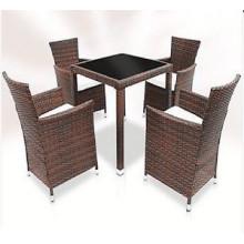 5PCS Rattan jardim jantar conjunto de mobiliário