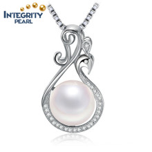 White Button Freshwater Pearl Pendant AAA 9-10mm Simple 925 Silver Pearl Pendant