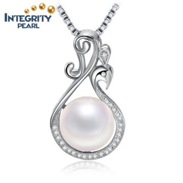 Bouton blanc Pendentif perle d'eau douce Pendentif perle argenté 925 mm AAA 9-10mm