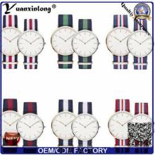 Yxl-549 moda aço inoxidável caso marca casal amantes pulseira relógios de nylon Nato relógio de pulso