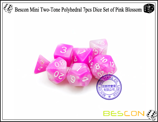 Bescon Mini Two-Tone Polyhedral 7pcs Dice Set of Pink Blossom-6