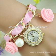 Excellent lady braided rose pendant diamond wholesale cheap watch
