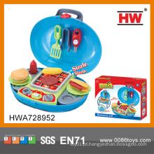 Interessante plástico cozinhar jogo conjunto brinquedos crianças cozinha bbq jogo definido