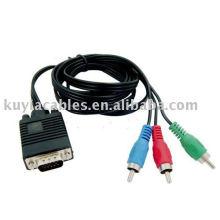 Câble VGA à 3 RCA Composant Câble adaptateur VIDEO Fil pour téléviseur LCD LCD RVB