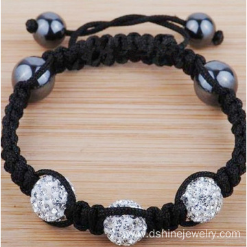 Silver Crystal Shamballa Adjustable Lady Hand Side Bracelets